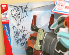 Transformers Animated Derrick Wyatt signed Lucky Draw