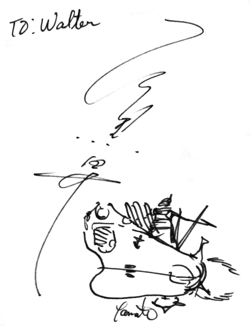 Sketch and autograph from Mr. Ishiguro to Walter 1995 AX